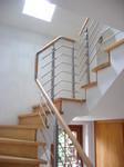 Holztreppe, Treppengeländer, Edelstahl Bearbeitung